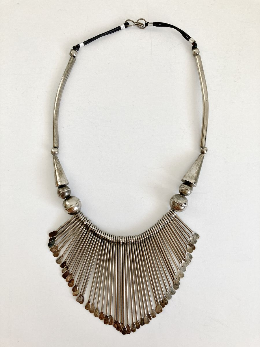 Silver Metal Fringe Bib Necklace - product images  of