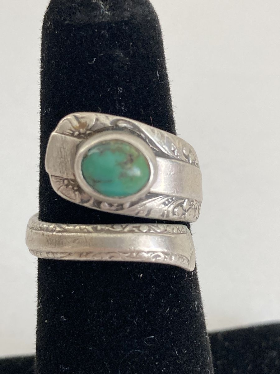 Silver and Turquoise Spoon Ring 1970s size 6 1/2 US - product images  of