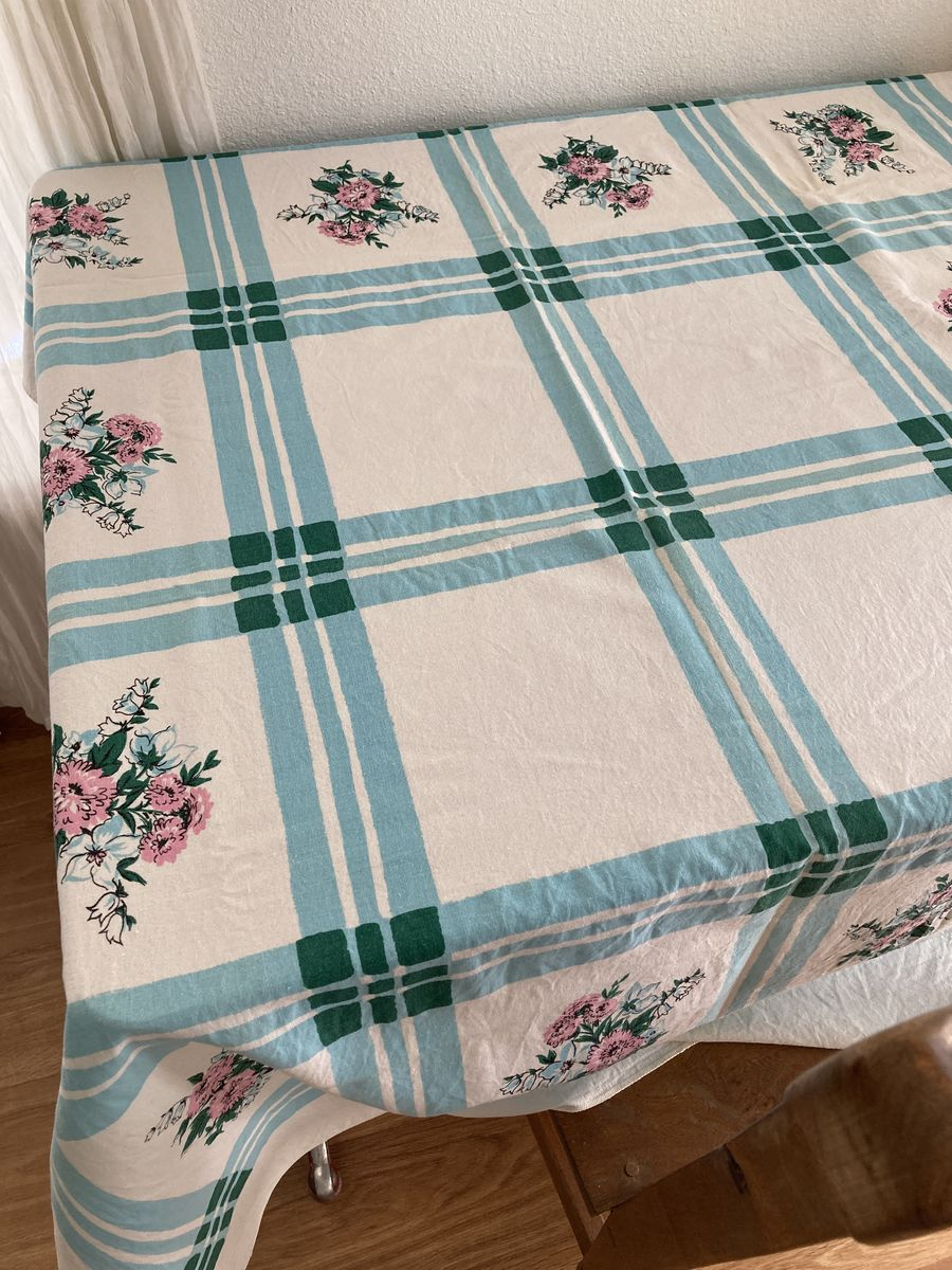 Vintage 1950s Printed Tablecloth Pink Floral Blue Plaid Rectangle - product image