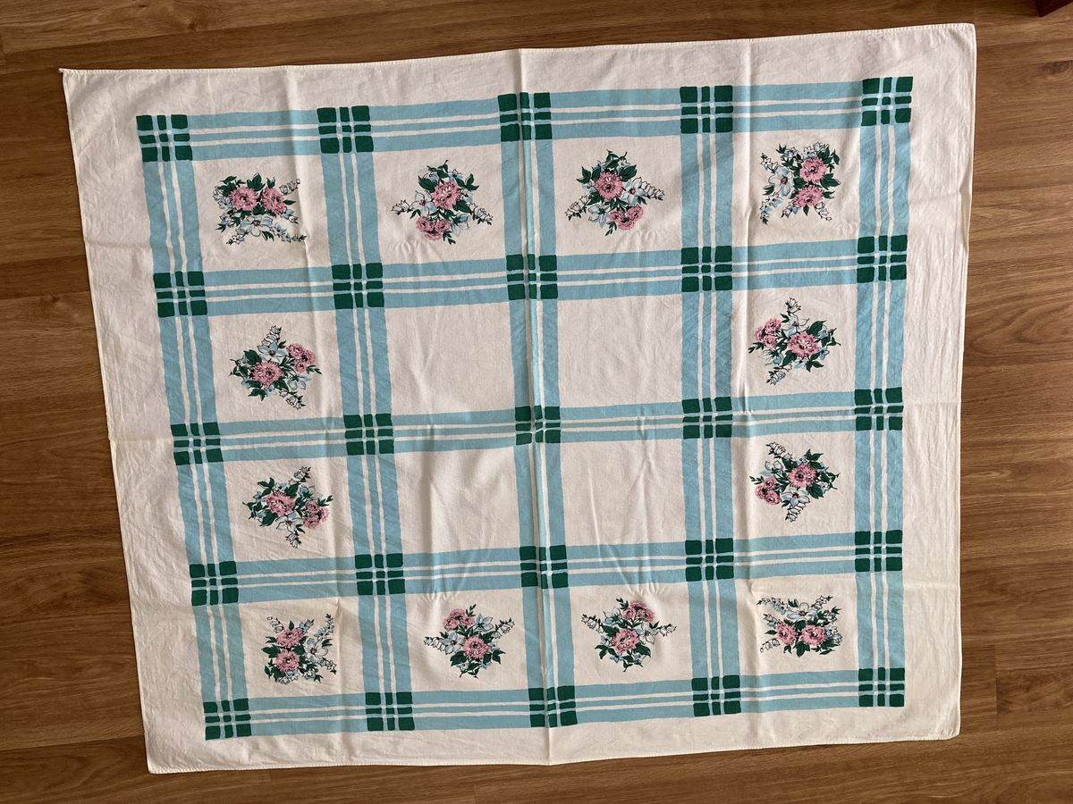 Vintage 1950s Printed Tablecloth Pink Floral Blue Plaid Rectangle - product images  of