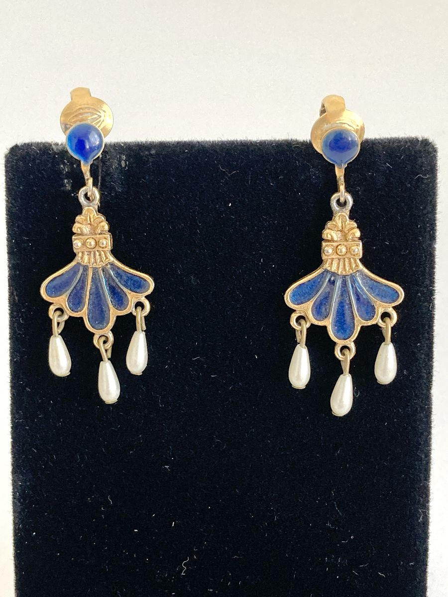 Vintage Blue Enamel, Faux Pearl and Gold-Tone Earrings  - product image