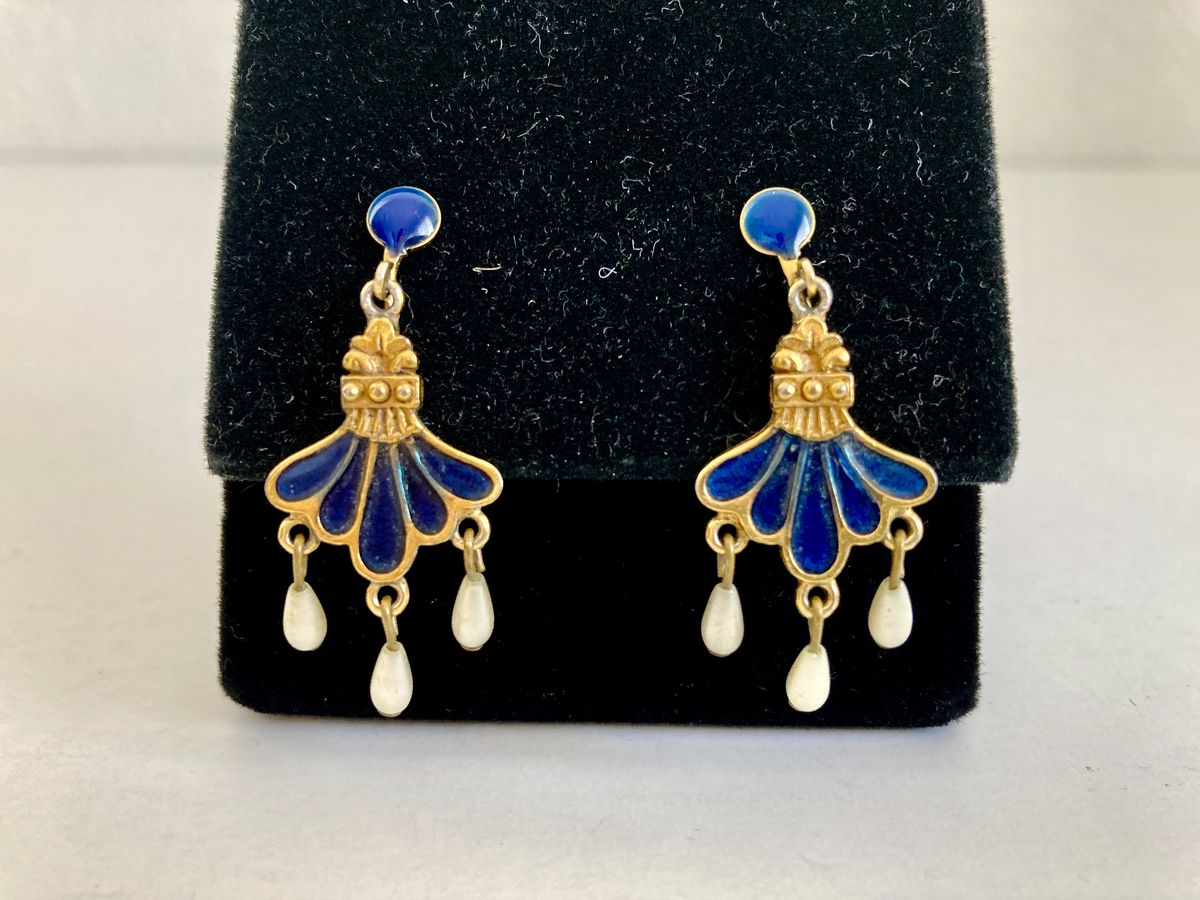 Vintage Blue Enamel, Faux Pearl and Gold-Tone Earrings  - product images  of