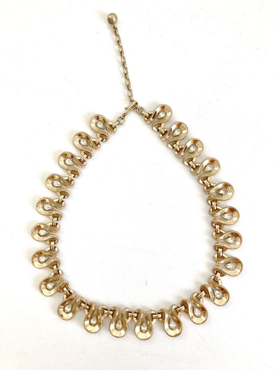 1930s Trifari Gold Tone Teardrop & Crystal Necklace - product images  of