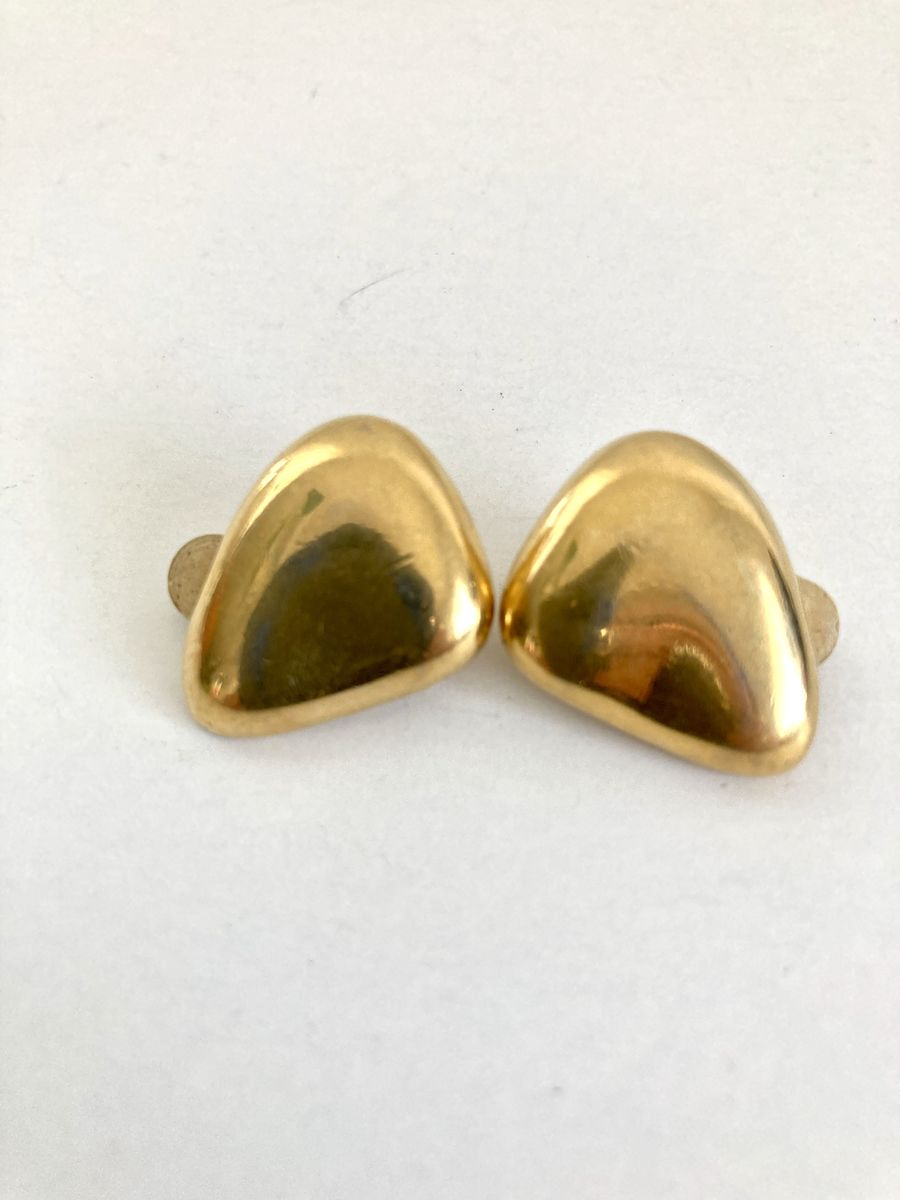 Gold Tone Abstract Bean Earrings - product images  of