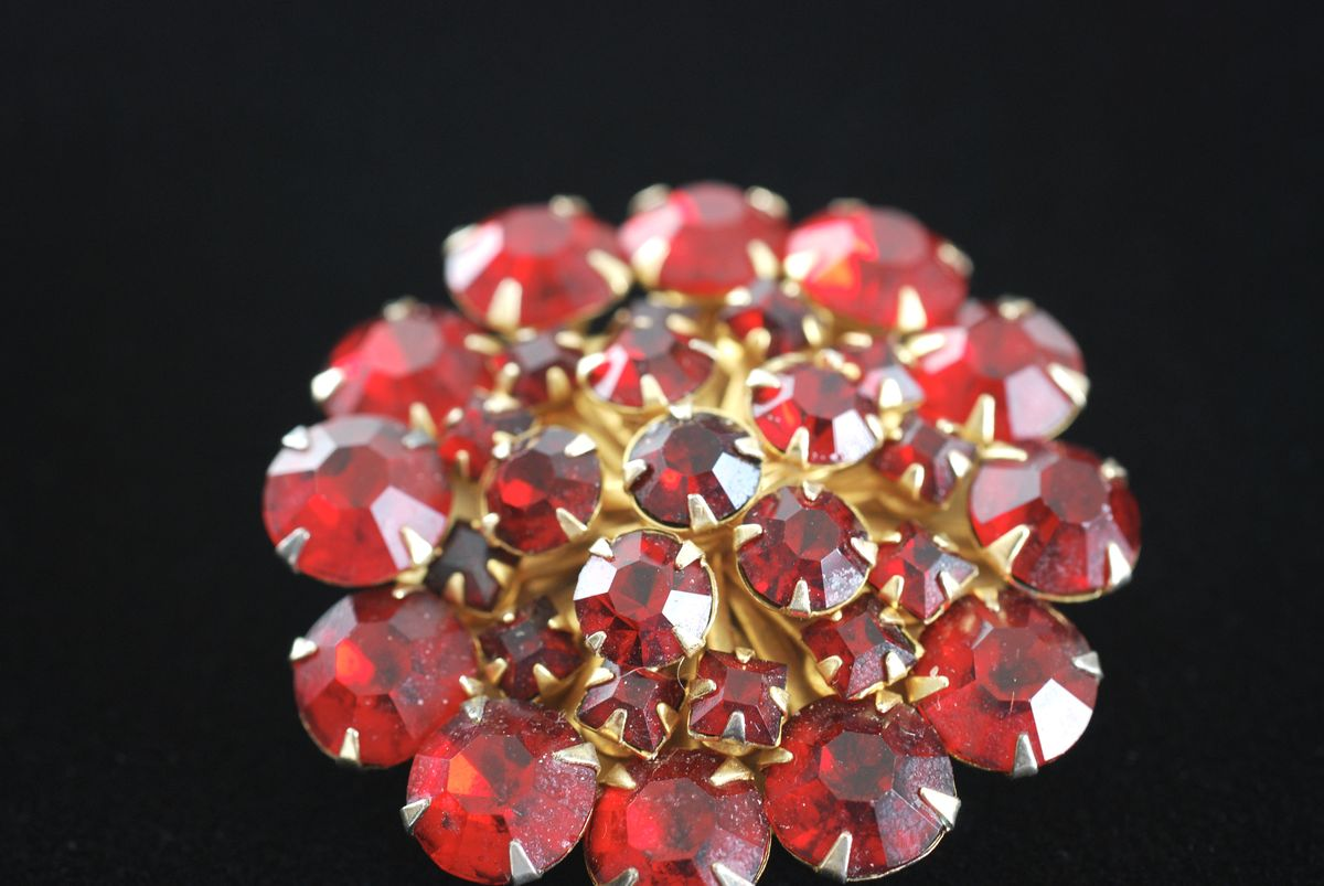 Deep Red Rhinestone Dome Brooch  - product images  of