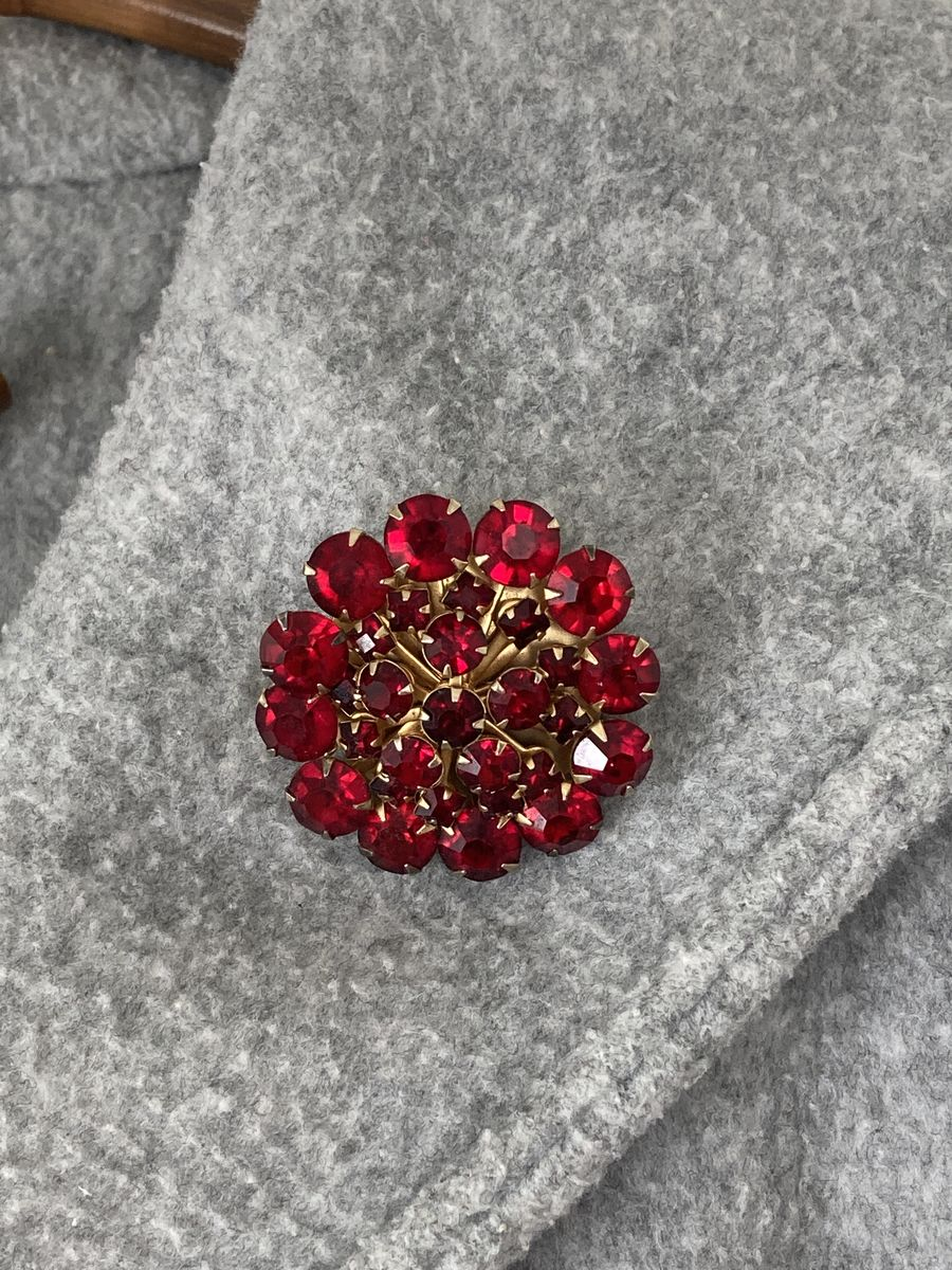 Deep Red Rhinestone Dome Brooch  - product image