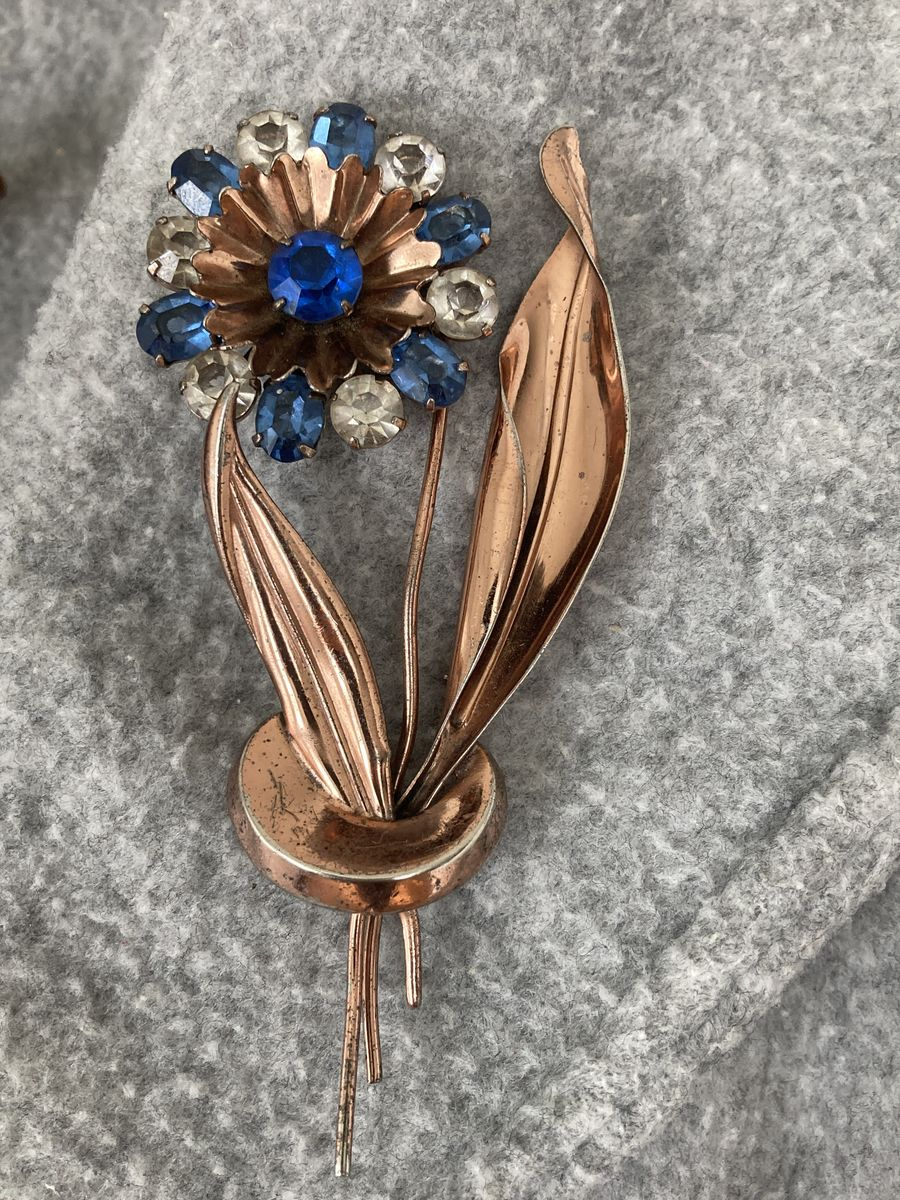 Copper Vermeil Rhinestone Flower and Leaves Large Brooch - product images  of