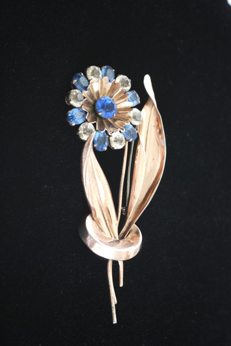 Copper Vermeil Rhinestone Flower and Leaves Large Brooch - product image