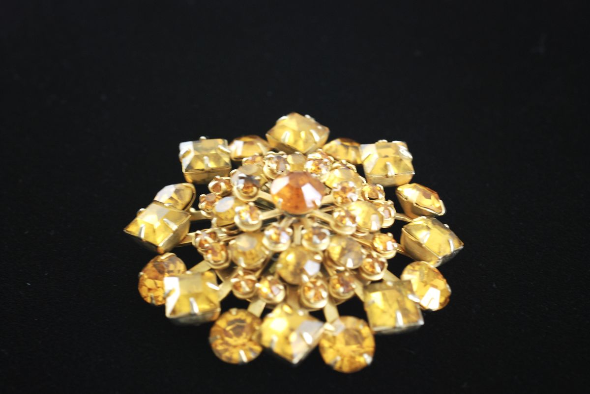 Topaz Colored Vintage Starburst Dome Brooch - product images  of