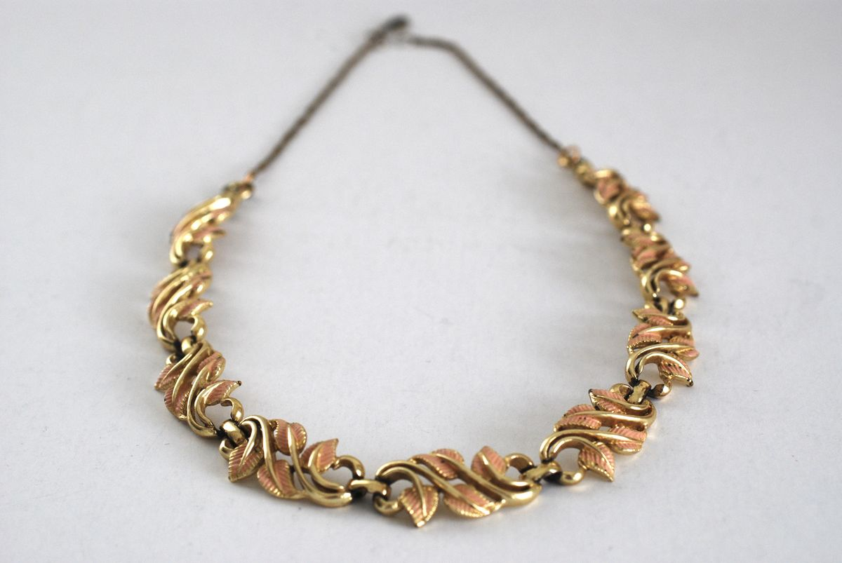 Coro Peach Enameled Leaves Necklace - product images  of