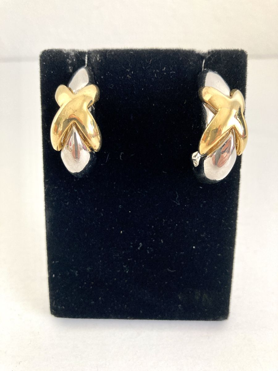 1980s Two Tone Half Hoop Earrings With X - product images  of