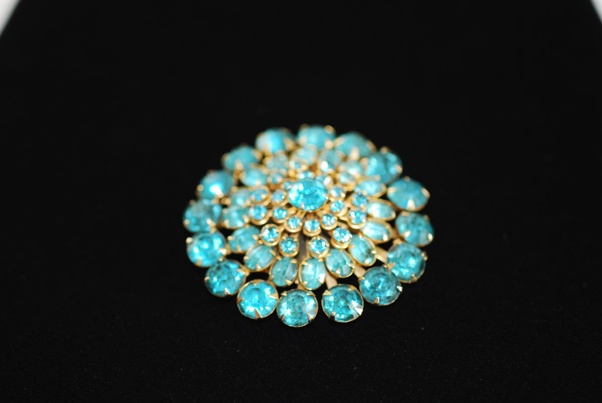 Vintage Aqua Rhinestone Starburst Dome Brooch - product images  of