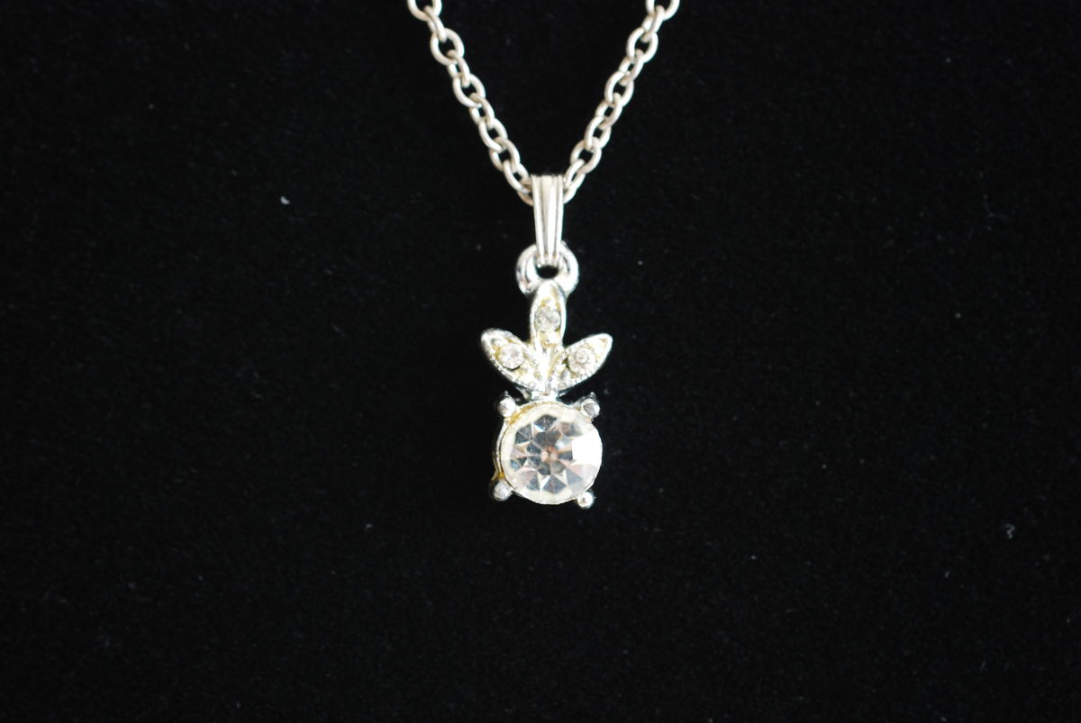 Vintage 1950s Tiny Rhinestone Pendant Necklace - product images  of