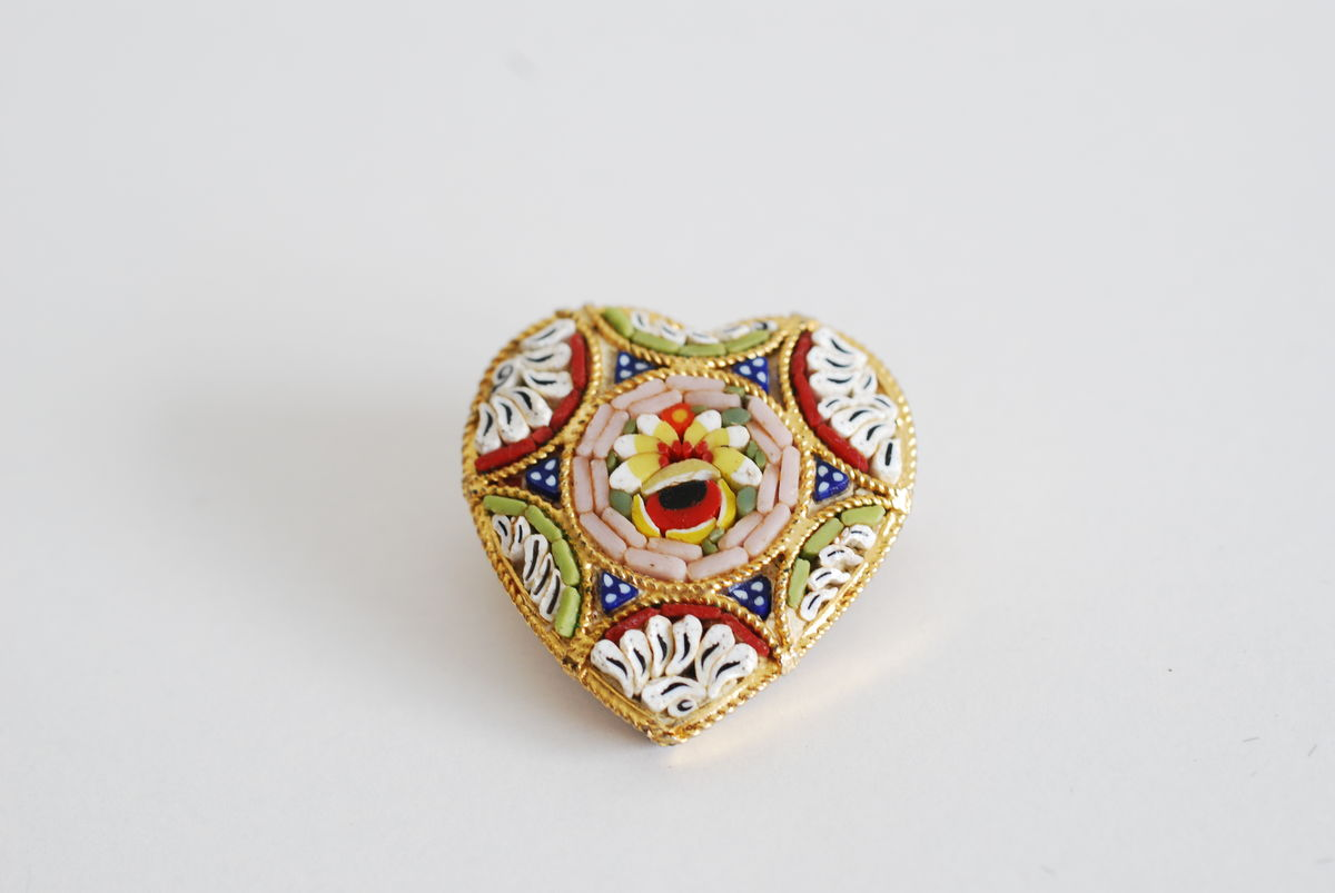 Micro Mosaic Heart Brooch Stamped Italy - product images  of