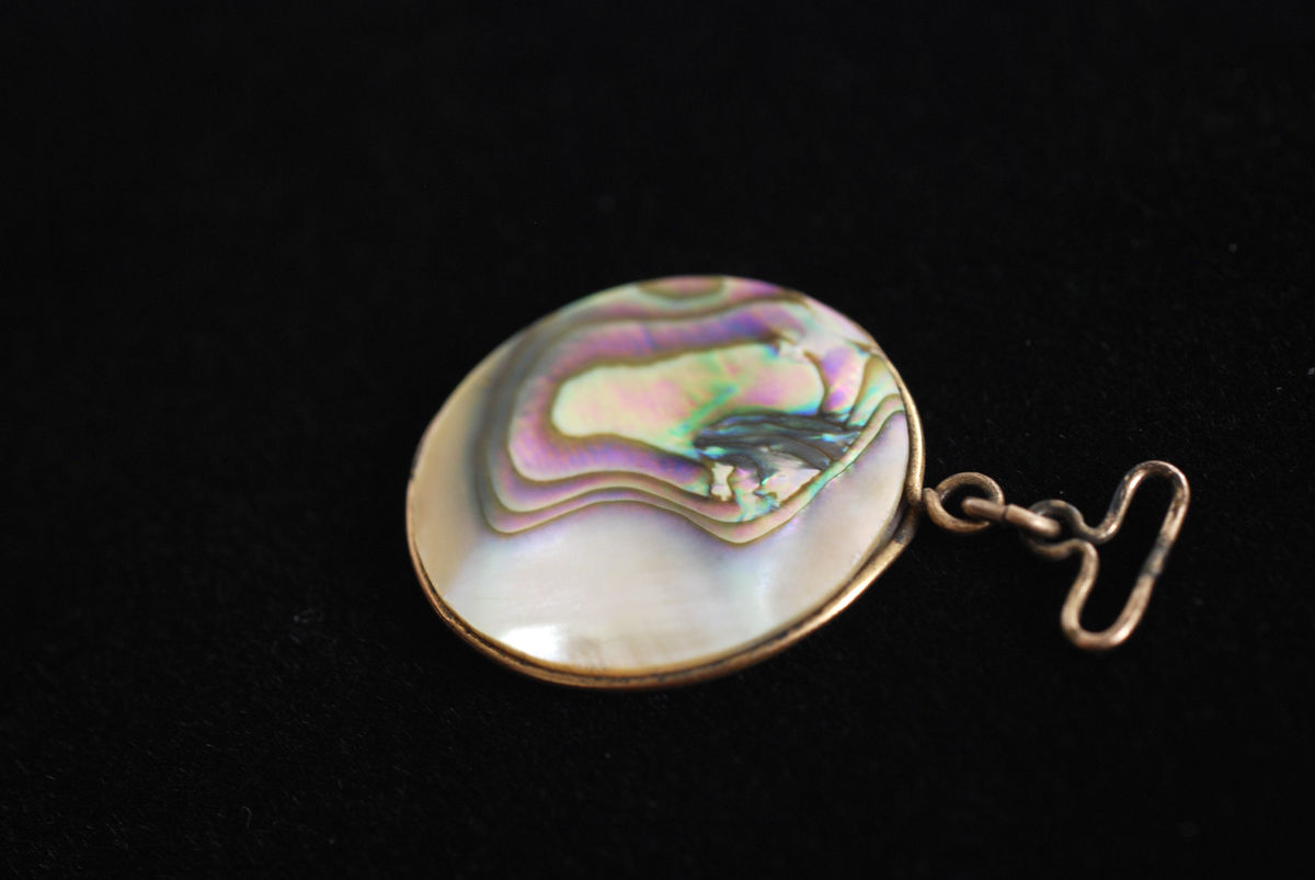 Antique Abalone Shell Disc Pendant - product images  of