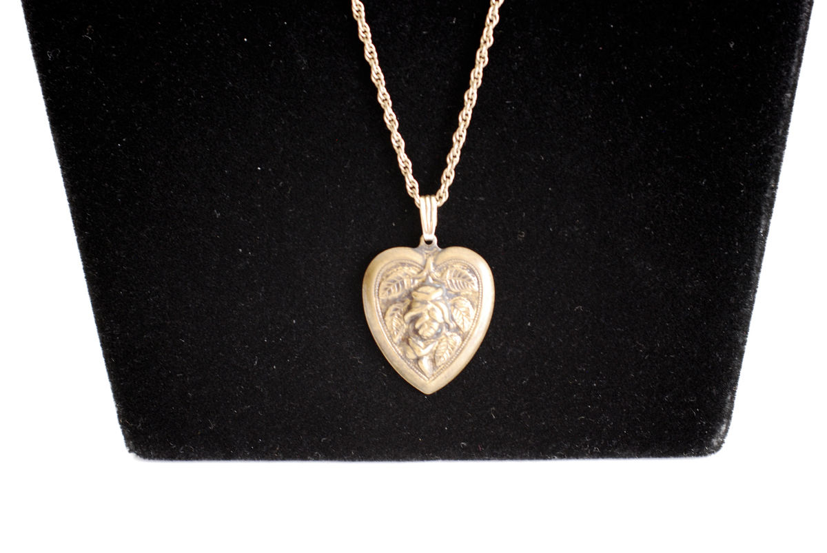 Brass Repousse Heart Pendant on Gold Filled Chain - product image