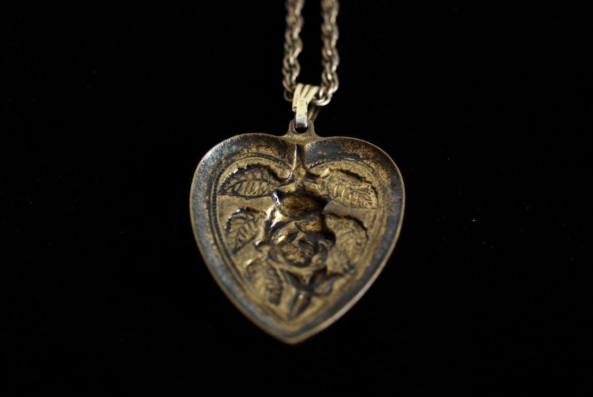 Brass Repousse Heart Pendant on Gold Filled Chain - product images  of