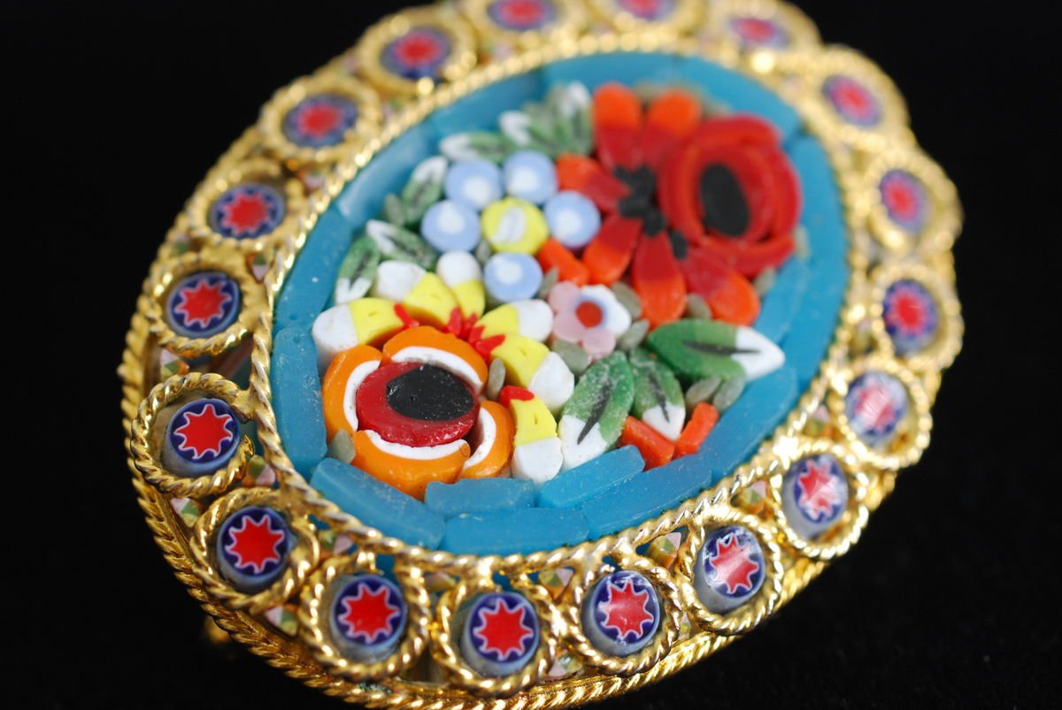 Oval Micro Mosaic Floral Brooch  - product images  of