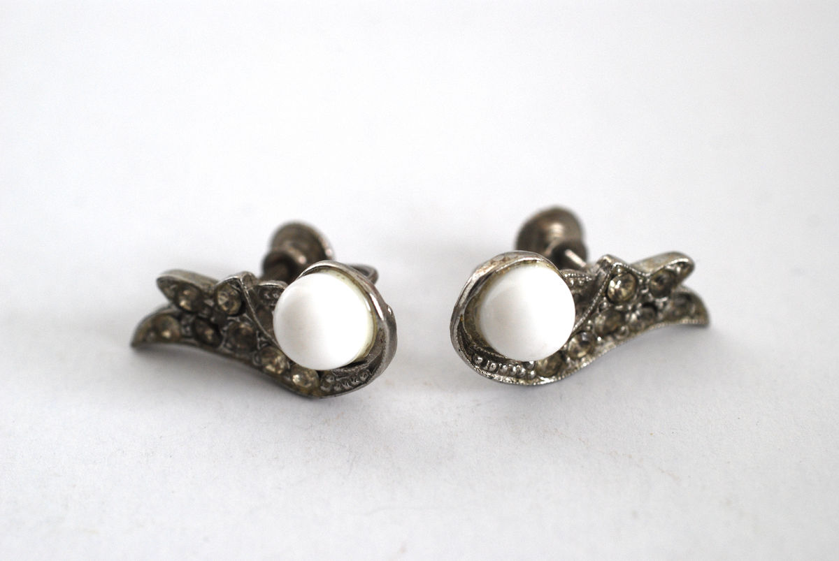 Vintage Rhodium, Milk Glass, & Rhinestone Earrings  - product images  of