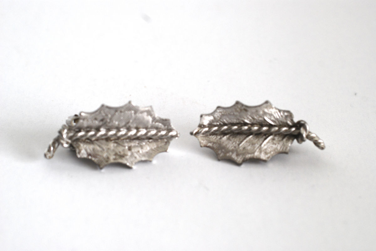 Coro Silver Tone Leaf Earrings - product images  of