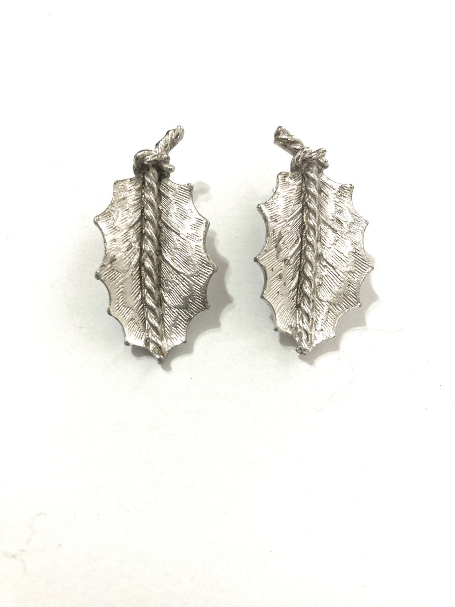 Coro Silver Tone Leaf Earrings - product image