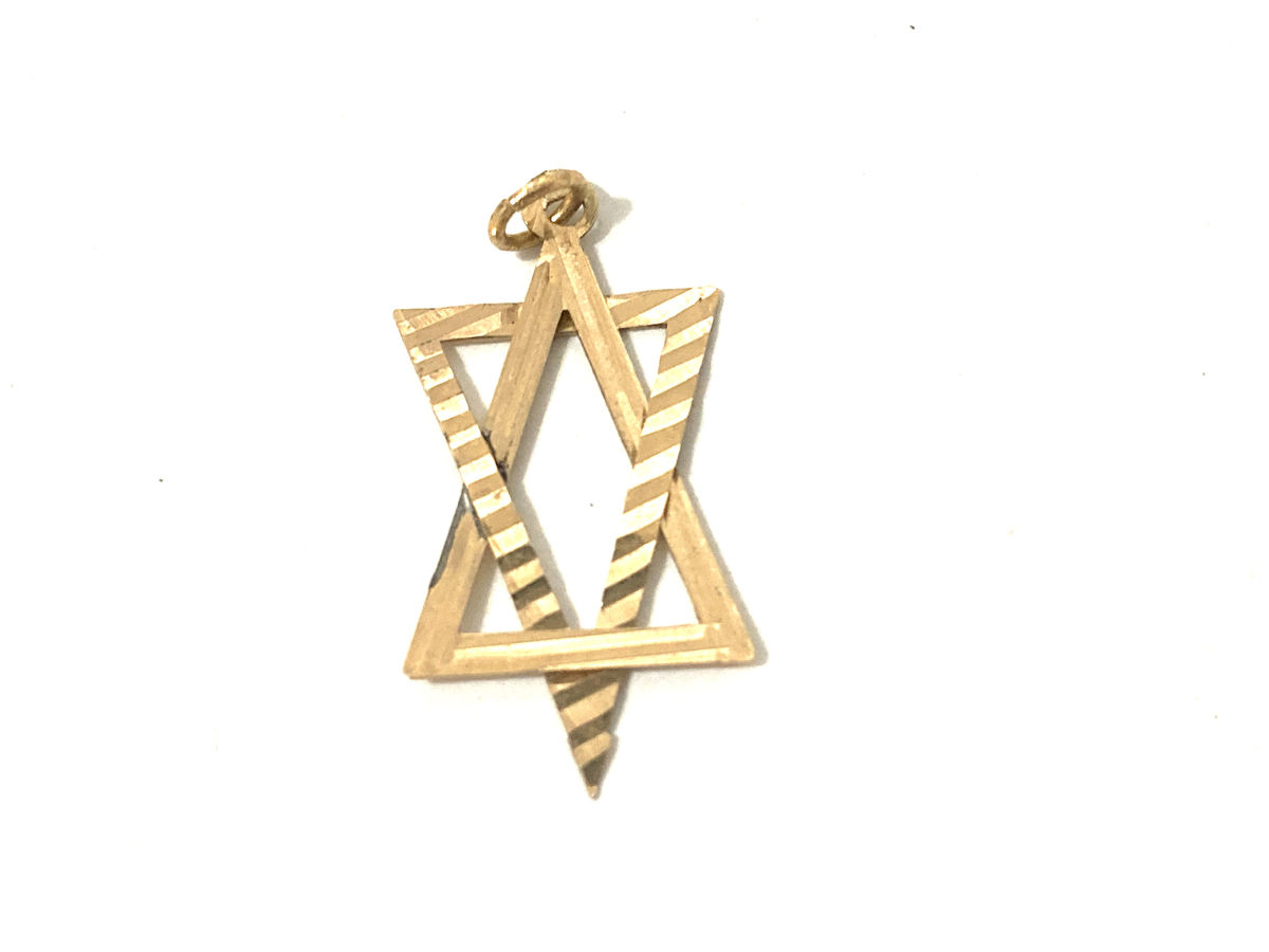 Gold Textured Star of David Pendant - product image