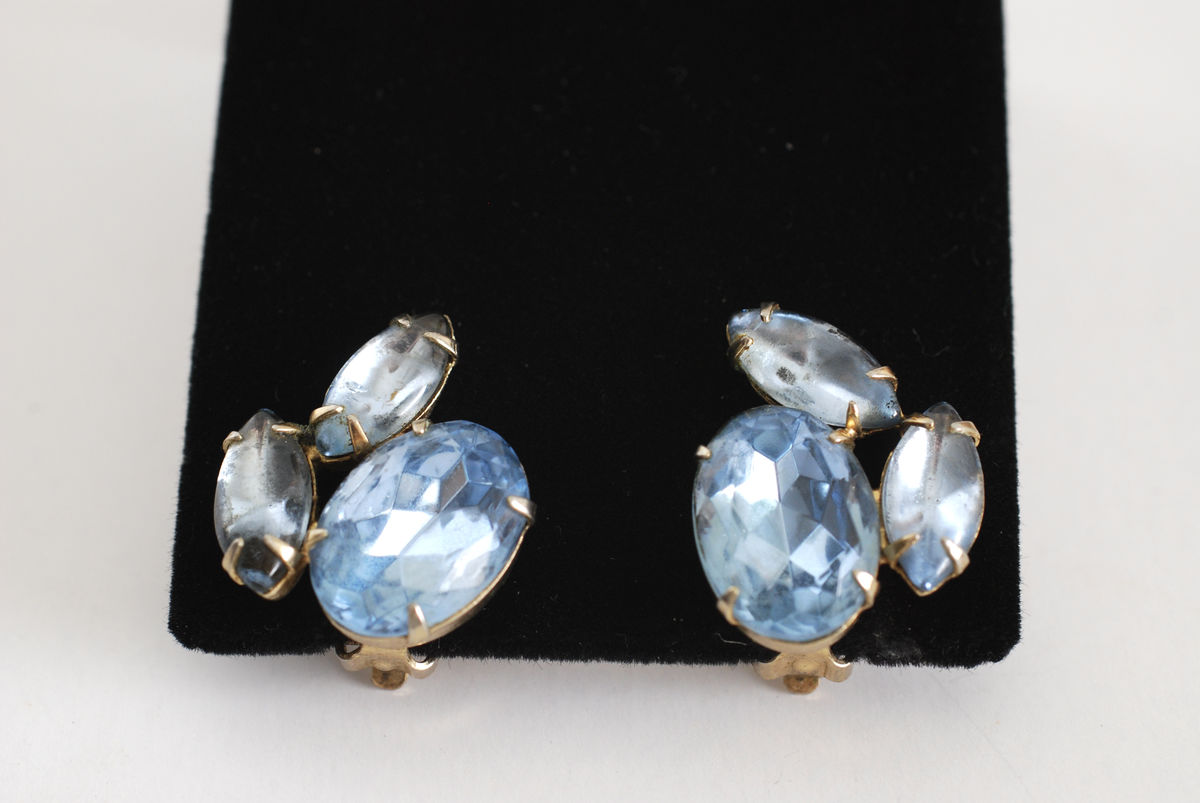 Big Chunky Light Blue Rhinestone Clip On Earrings  - product images  of