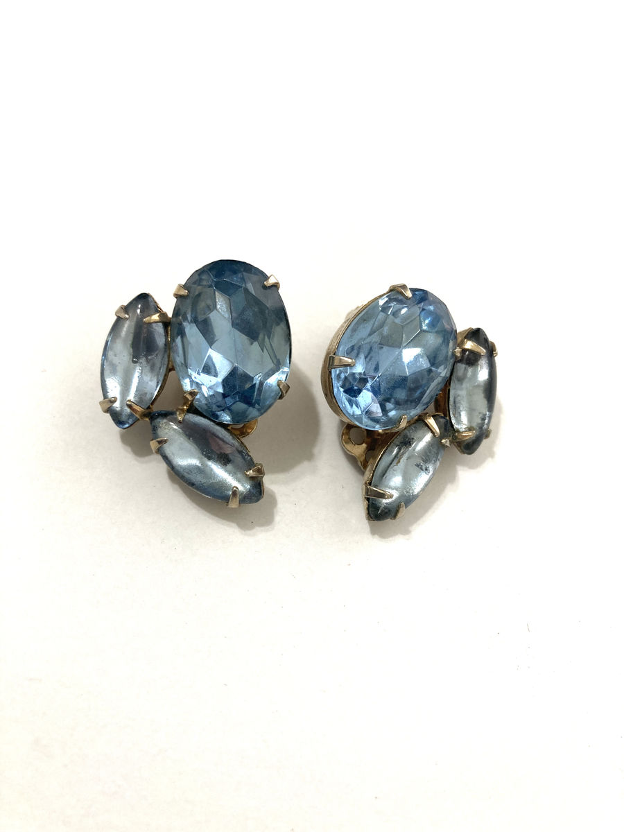 Big Chunky Light Blue Rhinestone Clip On Earrings  - product image