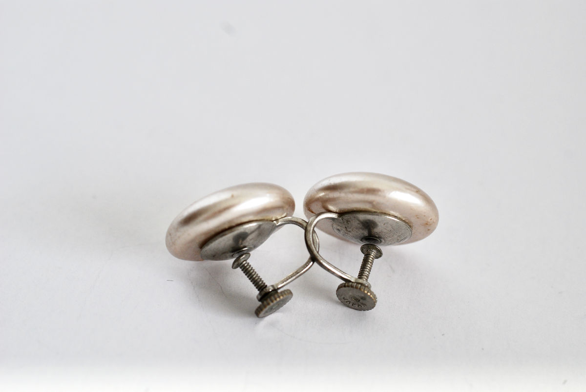 Vintage Taupe Pearl Button Screw Back Earrings Marked Japan - product images  of