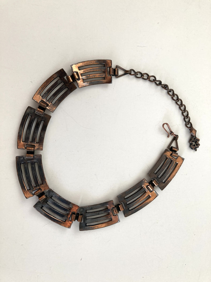 1950s Brutalist Copper Choker Necklace - product images  of