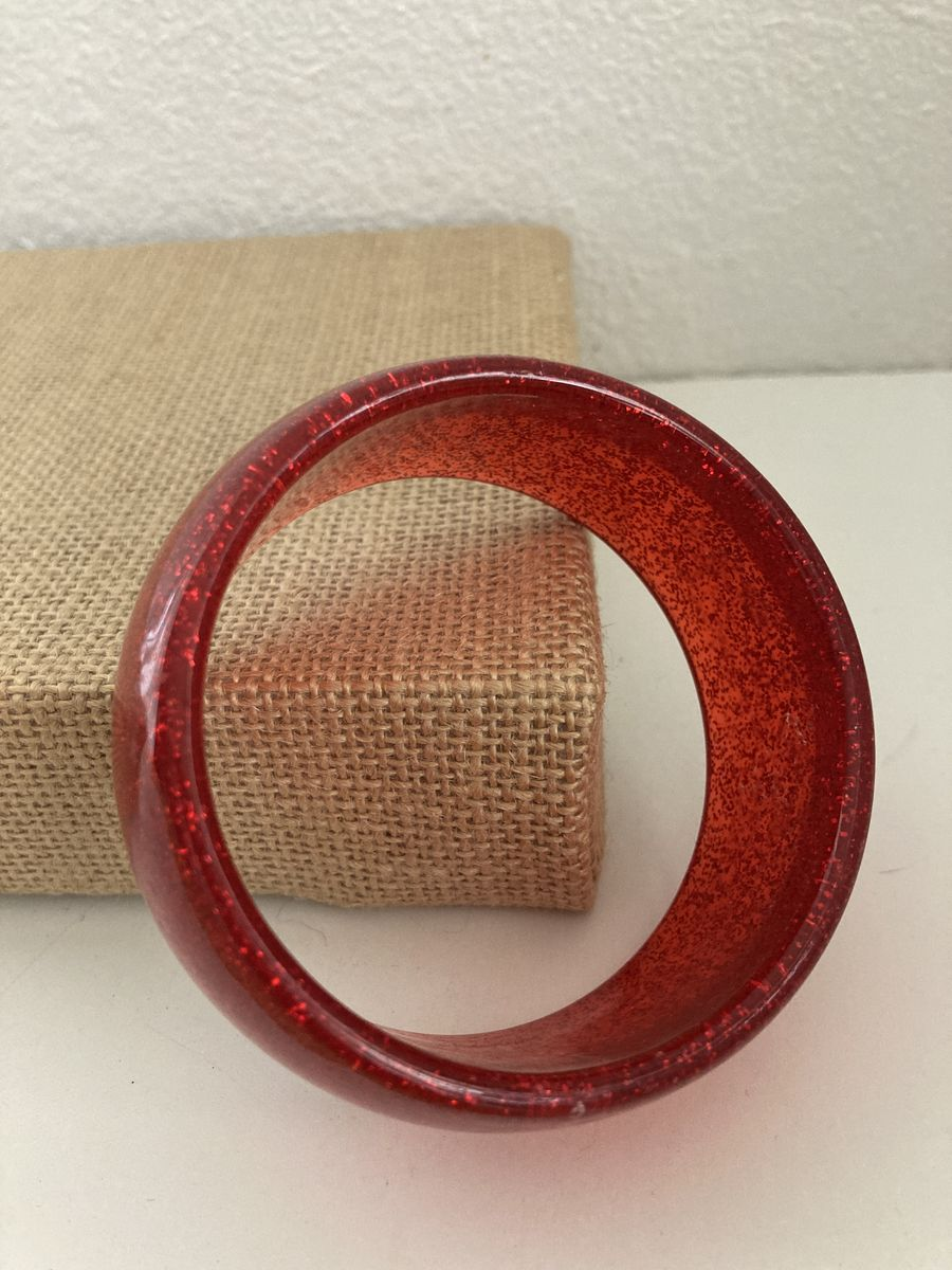 Red Glitter Lucite Bangle - product images  of