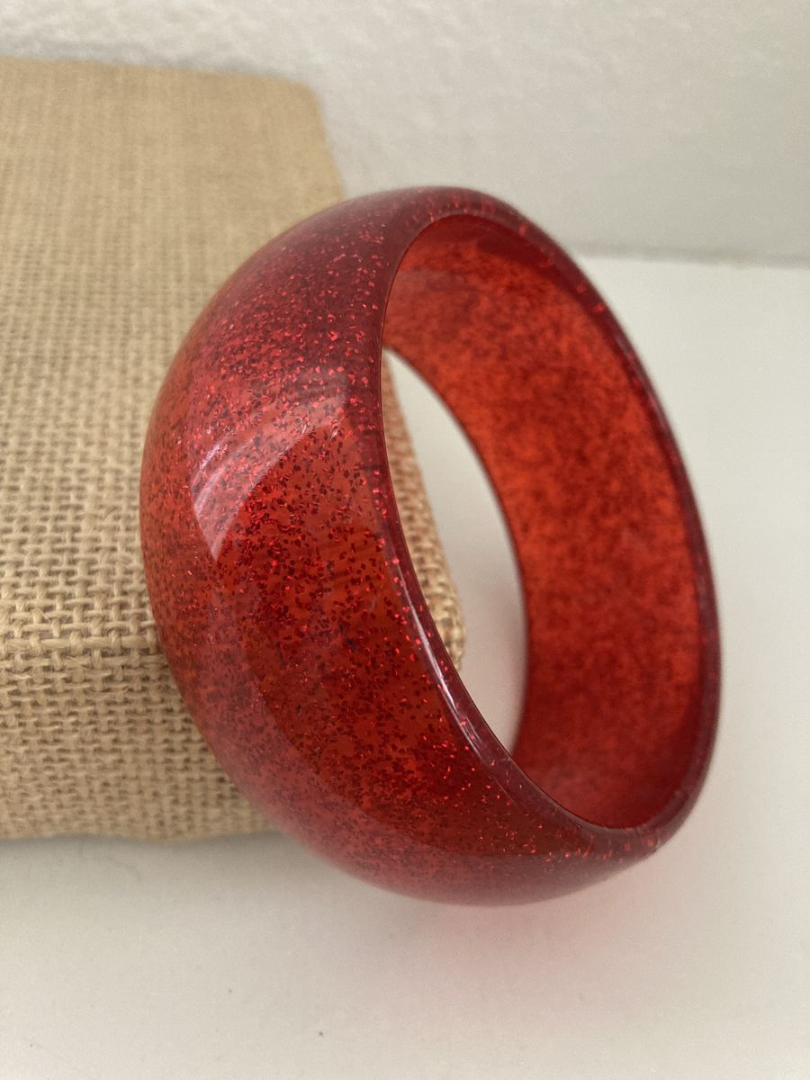 Red Glitter Lucite Bangle - product image
