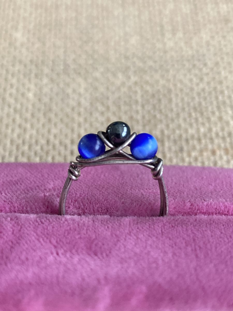 Wire Wrapped Ring Blue Tiger Eye and Hematite  - product image