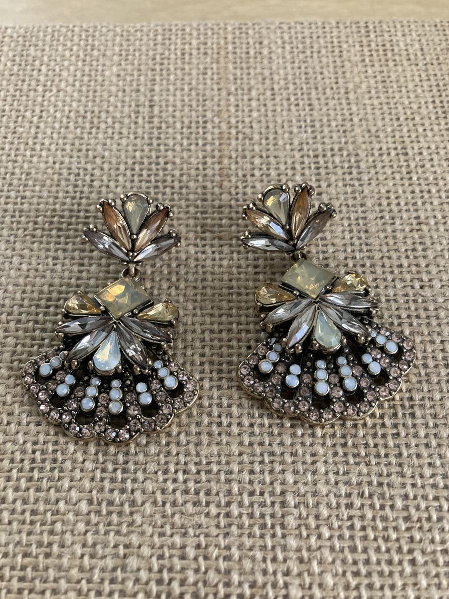Big Bold Rhinestone Earrings Light Amber and Cream - product images  of