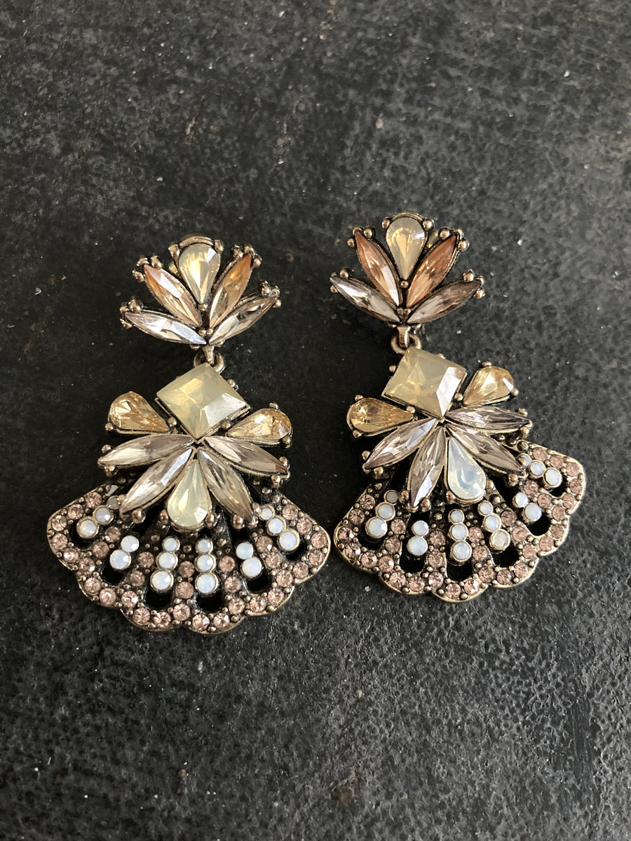 Big Bold Rhinestone Earrings Light Amber and Cream - product image