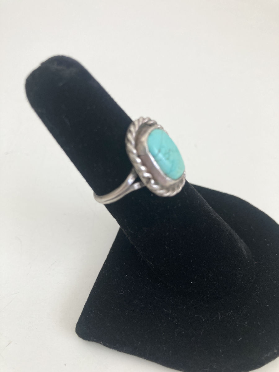 1970s Vintage Sterling and Light Blue Turquoise Ring - product images  of