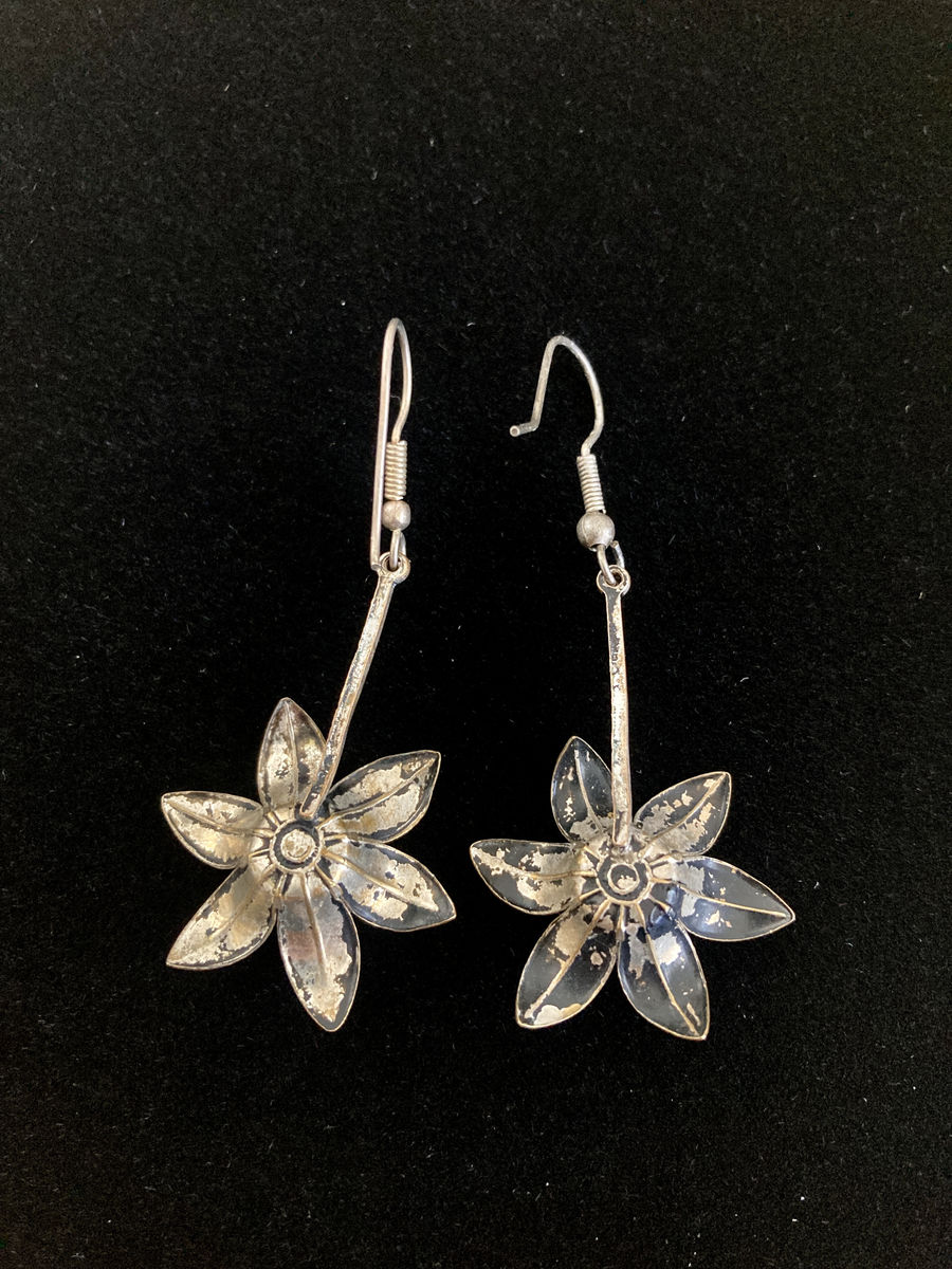 Vintage Sterling Silver Flower Dangle Earrings - product images  of