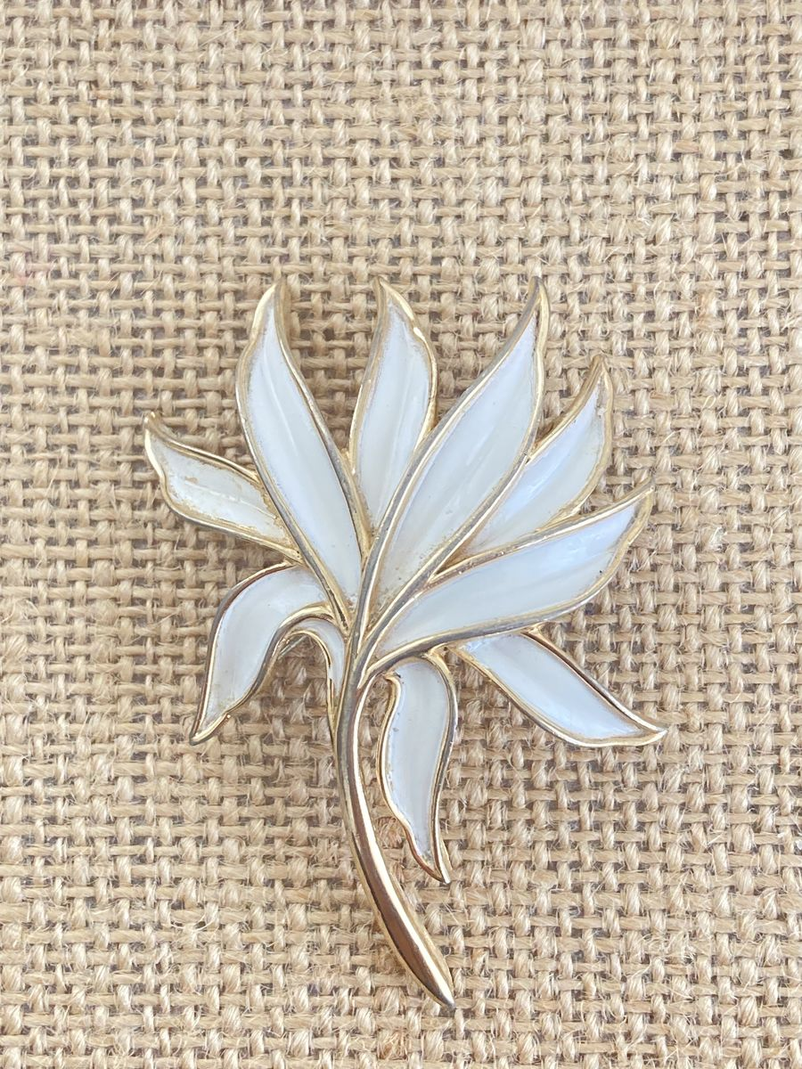 Trifari White Enamel Brooch Floral - product images  of