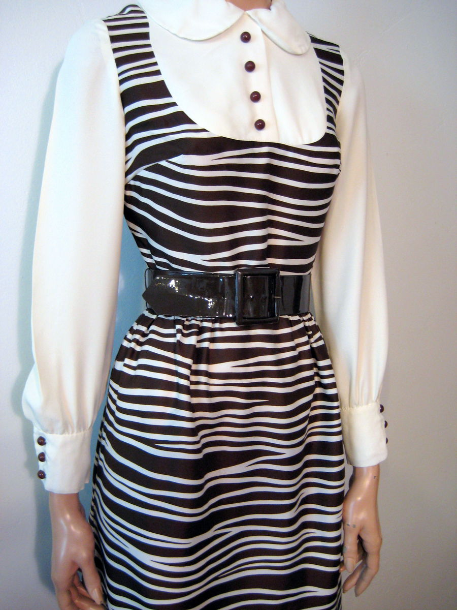 Long Sleeve Belted Maxi Dress Zebra Stripe by Lord and Taylor - product images  of