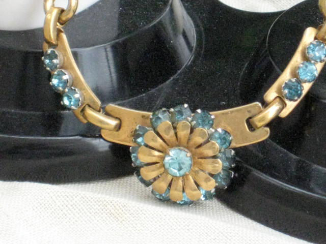 Vintage Rhinestone Necklace Aquamarine Barclay 1940s - product images  of