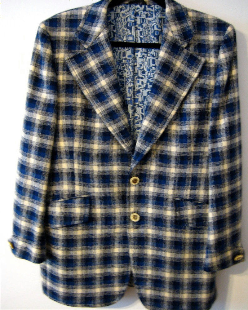 Vintage Plaid Sport Jacket  Blue 1970's  - product image