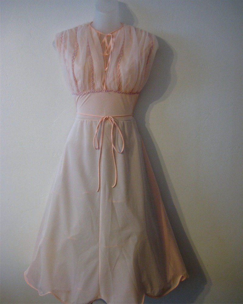 Vintage Pink Nightgown Nylon with Sequin Detail - Vintage Renude