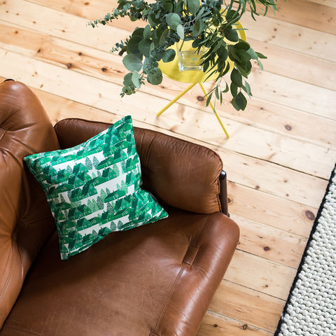 Greenland,Green,Cushion,cushions, cushion, pillow, greenland, design, home decor, decor, furnishings, green, green and white, cabin, trees, nature, travel, pattern, patterned, scandi, scandinavian, nordic