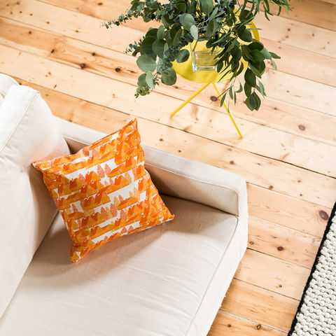 Greenland,Orange,Cushion,cushions, cushion, pillow, greenland, design, home decor, decor, furnishings, orange, orange and white, cabin, trees, nature, travel, pattern, patterned, scandi, scandinavian, nordic