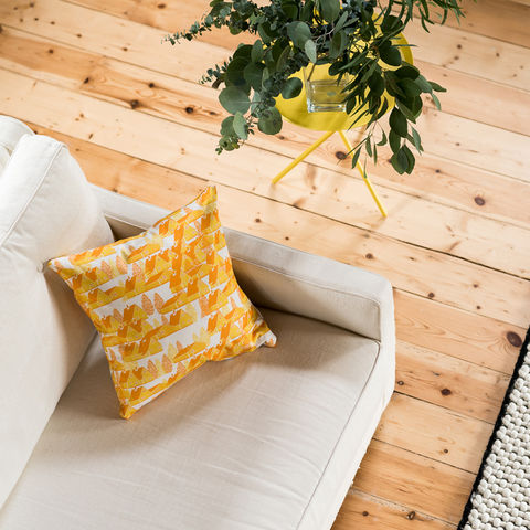 Greenland,Yellow,Cushion,cushions, cushion, pillow, greenland, design, home decor, decor, furnishings, yellow, yellow and white, cabin, trees, nature, travel, pattern, patterned, scandi, scandinavian, nordic