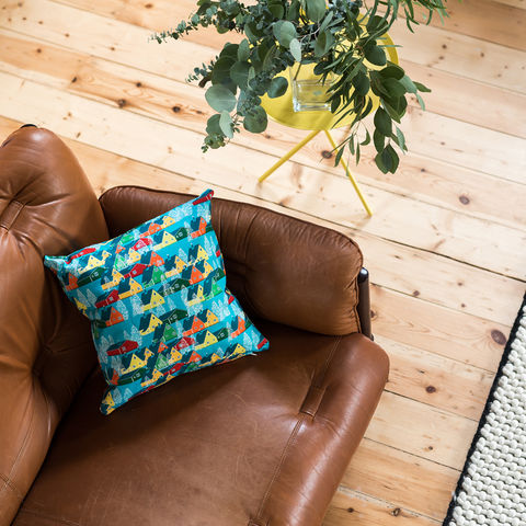 Greenland,Multicolour,Cushion,cushions, cushion, pillow, greenland, design, home decor, decor, furnishings, blue, multicolour, bright, colourful, kids, cabin, trees, nature, travel, pattern, patterned, scandi, scandinavian, nordic
