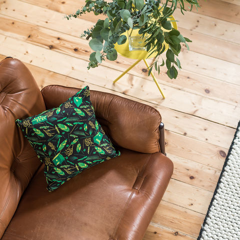 Nest,Building,Materials,Black/Green,Cushion,cushions, cushion, pillow, pillows, design, home decor, decor, furnishings, nest, nest building, feathers, leaves, green, mid century, patterned, pattern, black, cabins, cabin, aframe, nature, fir, trees
