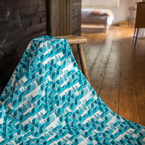 Greenland,Blue,Fabric,greenland, fabric, textiles, blue, blue and white, scandi, designer, design, bespoke, cabin, cabins, material, trees, greenland, printed in the uk, british,