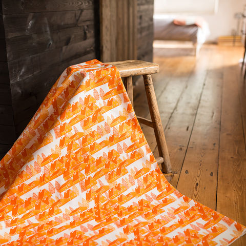 Greenland,Orange,Fabric,greenland, fabric, textiles, orange, orange and white, scandi, designer, design, bespoke, cabin, cabins, material, trees, greenland, printed in the uk, british,