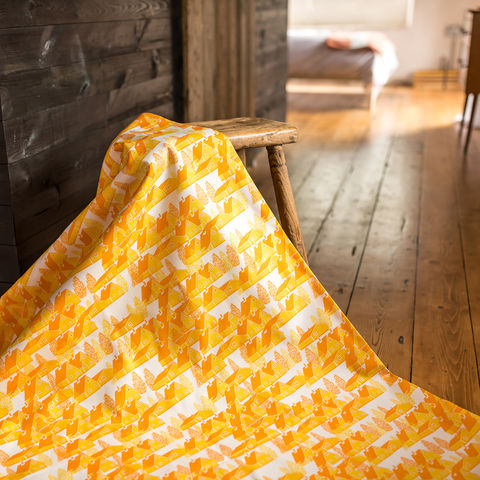 Greenland,Yellow,Fabric,greenland, fabric, textiles, yellow, yellow and white, scandi, designer, design, bespoke, cabin, cabins, material, trees, greenland, printed in the uk, british,